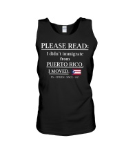 Please read I didn't immigrate from Puerto Rico Unisex Tank thumbnail