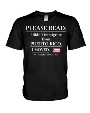 Please read I didn't immigrate from Puerto Rico V-Neck T-Shirt thumbnail
