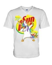 Unicorn dab V-Neck T-Shirt thumbnail