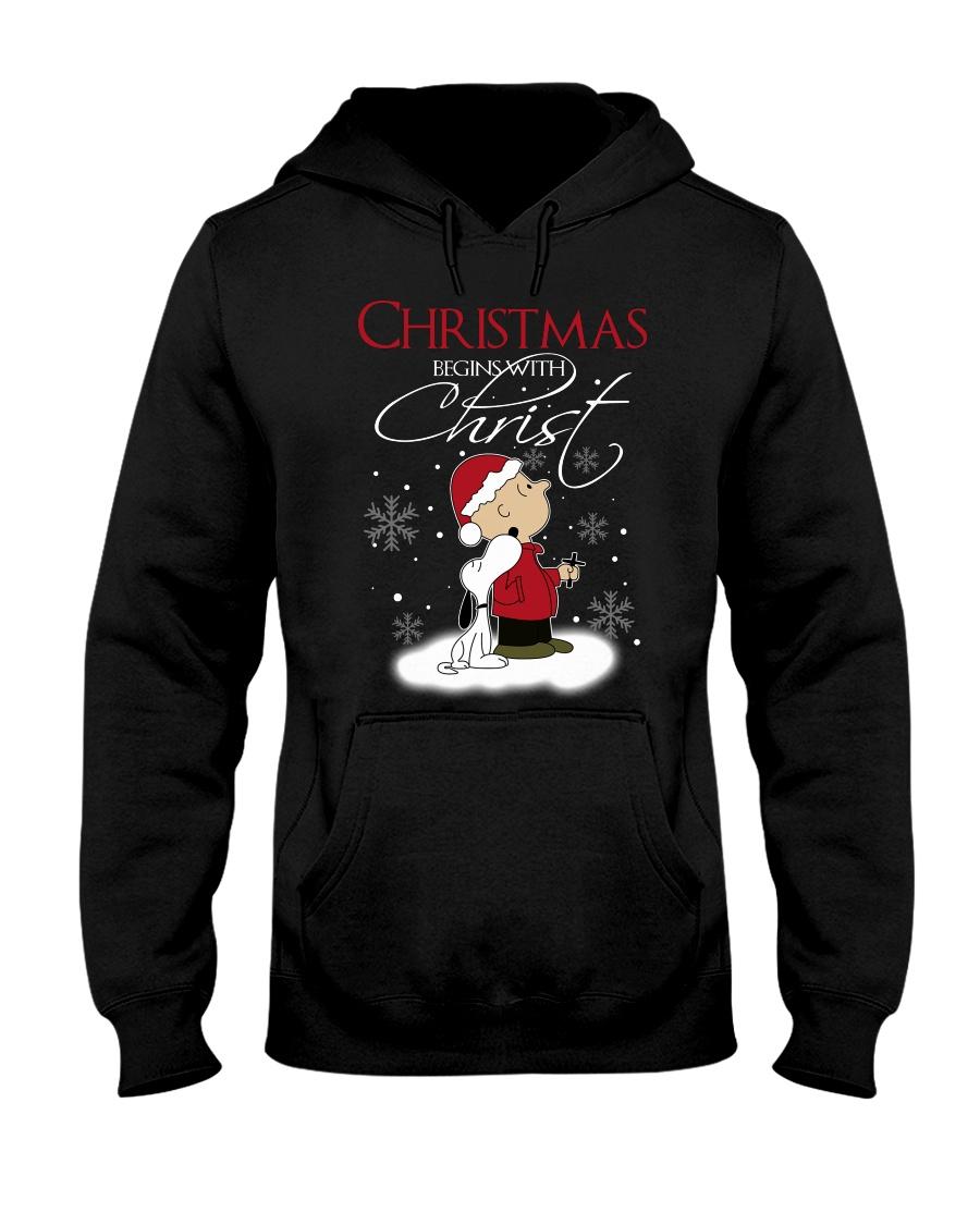 Christmas begins with Christ Hooded Sweatshirt