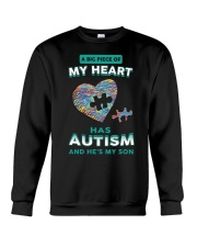 A big piece of my heart has autism and he's my son Crewneck Sweatshirt thumbnail
