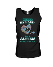 A big piece of my heart has autism and he's my son Unisex Tank thumbnail