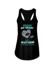 A big piece of my heart has autism and he's my son Ladies Flowy Tank thumbnail