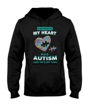 A big piece of my heart has autism and he's my son Hooded Sweatshirt thumbnail