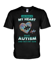 A big piece of my heart has autism and he's my son V-Neck T-Shirt thumbnail