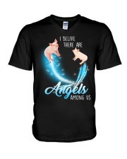 Pig I believe there are angels among us V-Neck T-Shirt thumbnail