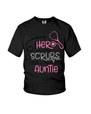 My hero wears scrubs and I call bere auntie Youth T-Shirt thumbnail