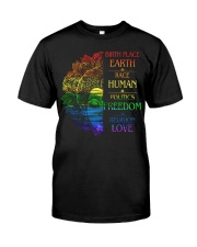 Buddha birth place earth race human politics freed Classic T-Shirt front