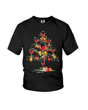 Christmas tree wine glass Youth T-Shirt thumbnail