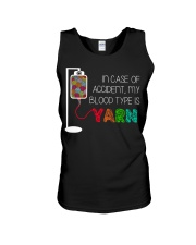 In case of accident my blood type is yarn  Unisex Tank thumbnail