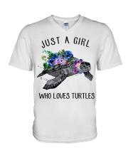 Just a girl who loves turtles V-Neck T-Shirt thumbnail