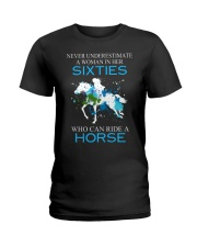 Never underestimate a woman in her sixties Ladies T-Shirt front