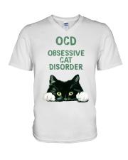 OCD obsessive cat disorder V-Neck T-Shirt thumbnail