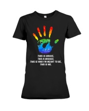 Hand LGBT this is brave this is bruised Premium Fit Ladies Tee thumbnail