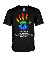 Hand LGBT this is brave this is bruised V-Neck T-Shirt thumbnail