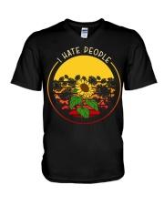 Sunflower I hate people V-Neck T-Shirt thumbnail