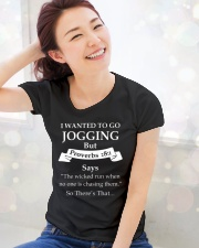 I wanted to go jogging but proverbs 28-1 says the  Ladies T-Shirt lifestyle-holiday-womenscrewneck-front-1