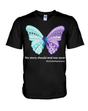 Butterfly no story should end too soon V-Neck T-Shirt thumbnail