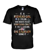 If a redhead girl is smiling she wants to do V-Neck T-Shirt thumbnail
