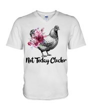 Chicken floral not today clucker V-Neck T-Shirt thumbnail
