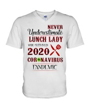Never underestimate lunch lady who survived 2020 V-Neck T-Shirt thumbnail
