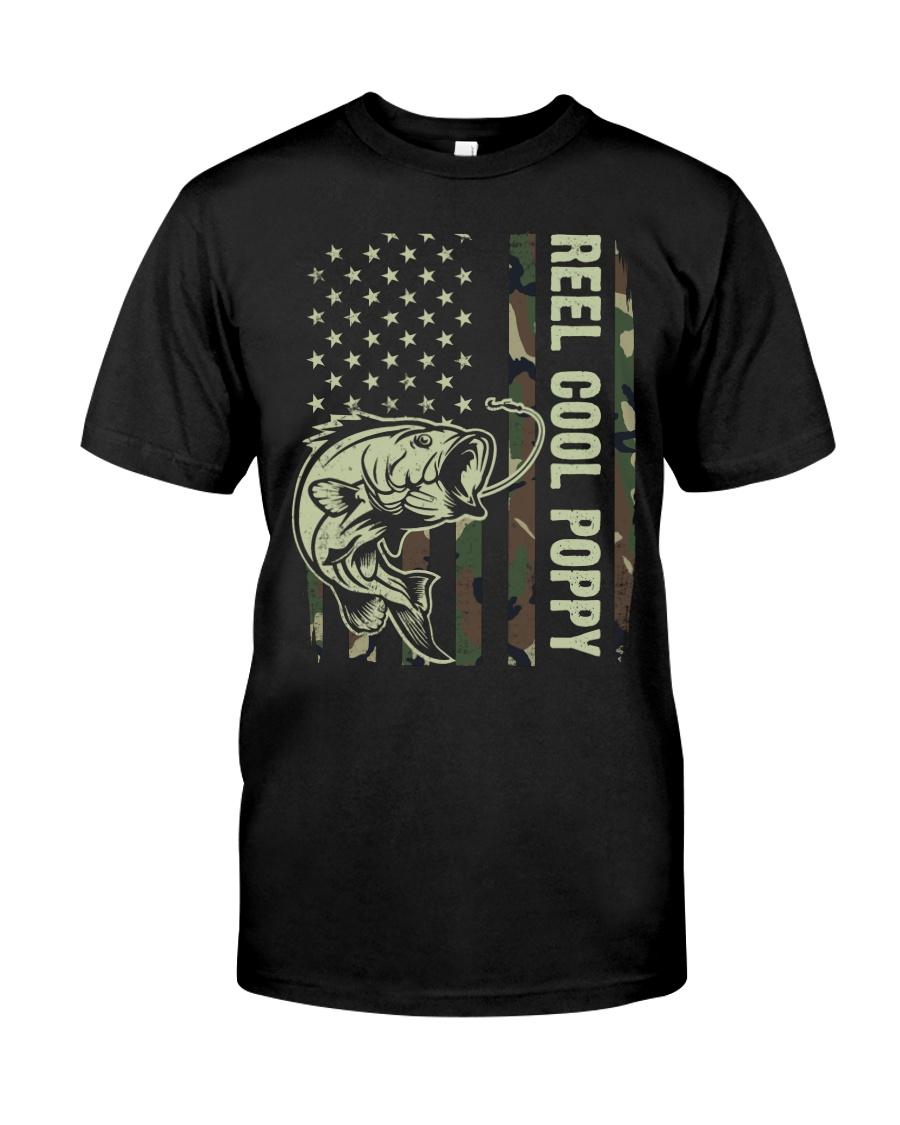 Reel cool poppy 4th july usa flag fishing Classic T-Shirt