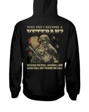 Why did i become a veteran because football baseba Hooded Sweatshirt thumbnail