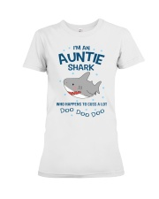 I'm an auntie shark who happens to cuss a lot  Premium Fit Ladies Tee thumbnail