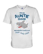 I'm an auntie shark who happens to cuss a lot  V-Neck T-Shirt thumbnail