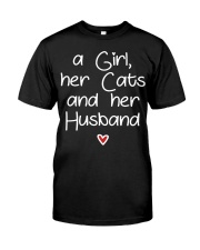 A girl her cats and her husband Classic T-Shirt thumbnail
