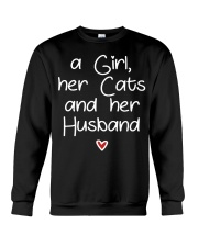 A girl her cats and her husband Crewneck Sweatshirt thumbnail