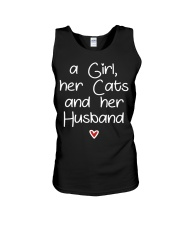 A girl her cats and her husband Unisex Tank thumbnail