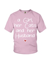 A girl her cats and her husband Youth T-Shirt thumbnail
