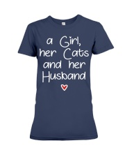 A girl her cats and her husband Premium Fit Ladies Tee thumbnail