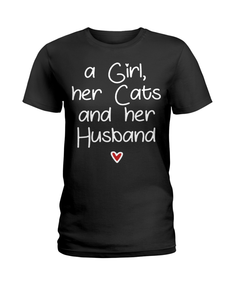 A girl her cats and her husband Ladies T-Shirt