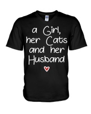 A girl her cats and her husband V-Neck T-Shirt thumbnail