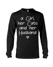A girl her cats and her husband Long Sleeve Tee thumbnail