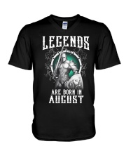 Viking Legend are born in August V-Neck T-Shirt thumbnail