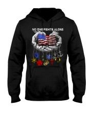 No one fights alone Usa Flag shirt Hooded Sweatshirt thumbnail