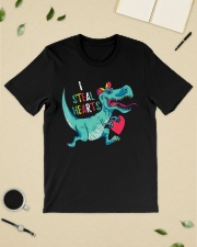 Valentines day dinosaur I steal hearts Premium Fit Mens Tee lifestyle-mens-crewneck-front-19