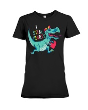 Valentines day dinosaur I steal hearts Premium Fit Ladies Tee thumbnail