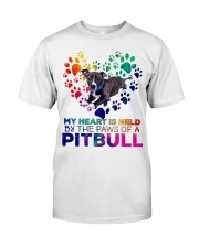 My heart is held by the paws of a pitbull Classic T-Shirt thumbnail