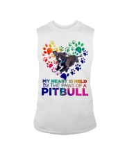 My heart is held by the paws of a pitbull Sleeveless Tee thumbnail