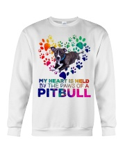 My heart is held by the paws of a pitbull Crewneck Sweatshirt thumbnail