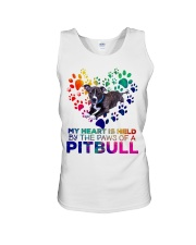 My heart is held by the paws of a pitbull Unisex Tank thumbnail