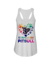 My heart is held by the paws of a pitbull Ladies Flowy Tank thumbnail
