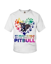 My heart is held by the paws of a pitbull Youth T-Shirt thumbnail