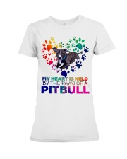 My heart is held by the paws of a pitbull Premium Fit Ladies Tee thumbnail