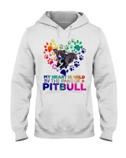 My heart is held by the paws of a pitbull Hooded Sweatshirt thumbnail