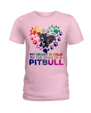 My heart is held by the paws of a pitbull Ladies T-Shirt front